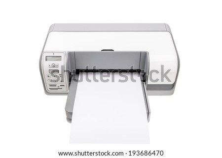 Office printer with a clean paper for text. Isolated on white background. - stock photo