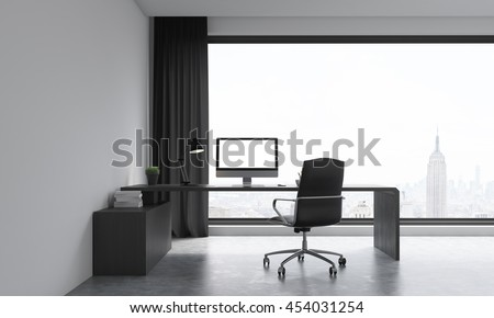 Office room with large window. Computer on table. Concept of work. 3D render. Mock up. - stock photo