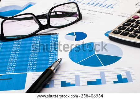 office scene:financial graph and chart - stock photo