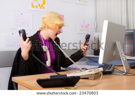 Office. Secretary. Too much work today. - stock photo