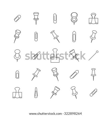 Office set, clips and paper clip icons of various forms and sizes of thin lines