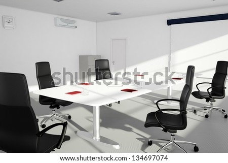 Office setup with table and chairs in bright sunlight - stock photo