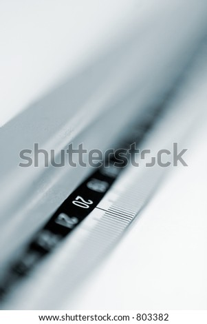 Office silver ruler with millimeter scale