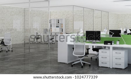 interior design office space. office space. design of office. 3d rendering. interior space