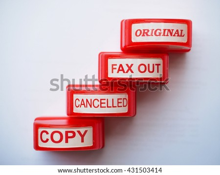 Office stampers of Copy, Cancelled, Fax Out, Original