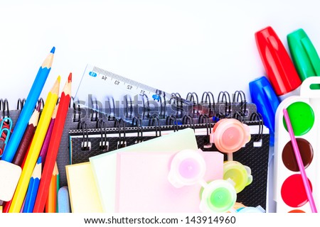 Office stationary isolated on white. Back to school concept.