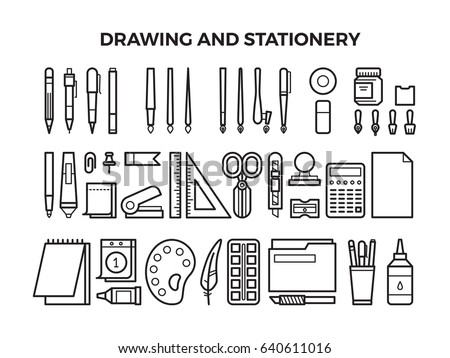 office drawing tools. Office Stationery And Drawing Tools Line Icons. Pencil Pen, Marker Paintbrush. W