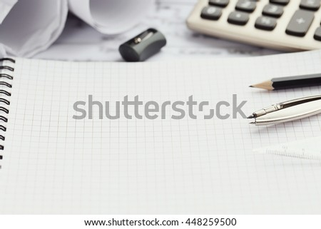 Office. Stationery on the table - stock photo