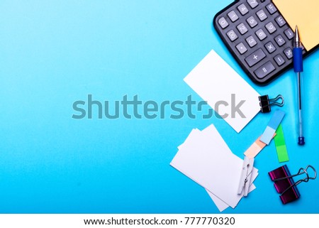 idea office supplies. Office Supplies And Business Idea Concept. Card With Empty Space Binders Near Sticky P