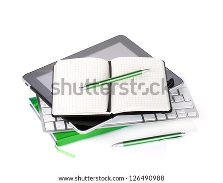 Office supplies and computer devices. Isolated on white background - stock photo