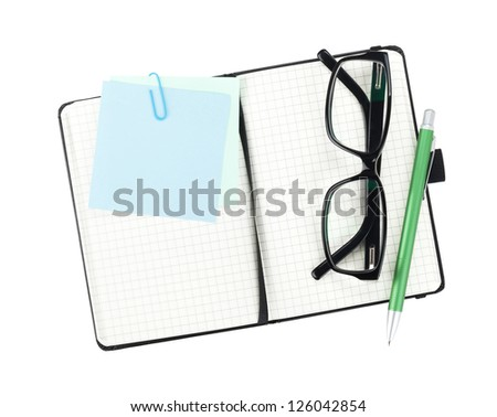 Office supplies and glasses. View from above. Isolated on white background - stock photo