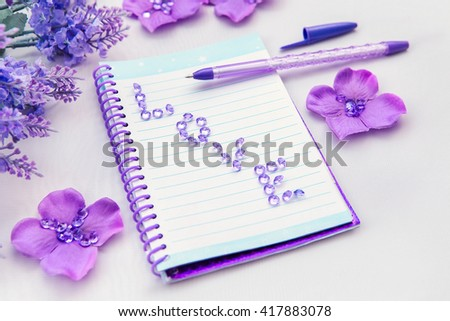Nice Office Supplies Business Women. Notebook And Pen. Some Office Stuff On A  White Background