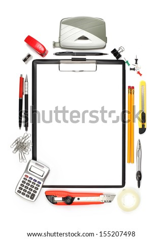 Office supplies, calculator and empty clipboard isolated on white background