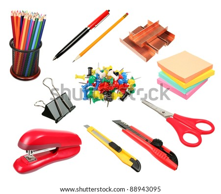 Office supplies collection isolated on white background, clipping path included - stock photo