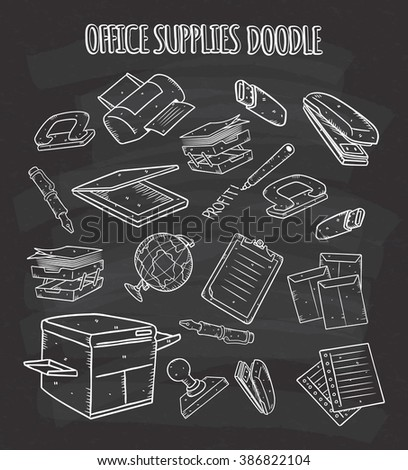 office supplies doodle on chalkboard - stock photo