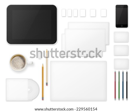 Office Supplies for Designers Presentations and Portfolios Isolated on White Background. Above view. - stock photo