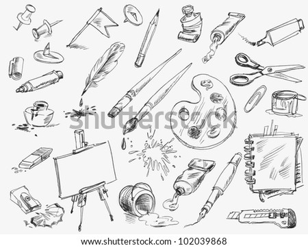 Office supplies. Hand-drawn. Raster version of vector image - stock photo