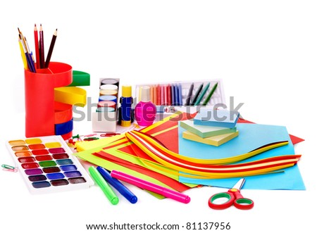 Office supplies. isolated on white. - stock photo