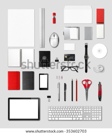 Office supplies mockup template, isolated on grey background note to reviewer : credit card number removed