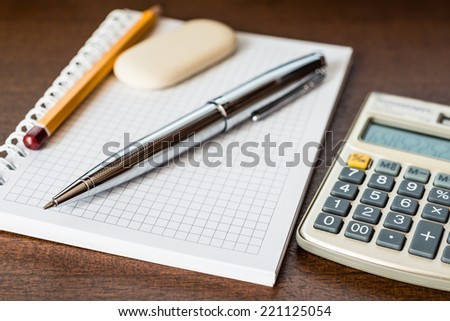Office supplies on the table - stock photo
