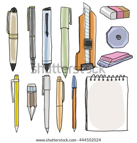 office supplies  pencil pens cutter eraser art illustration - stock photo