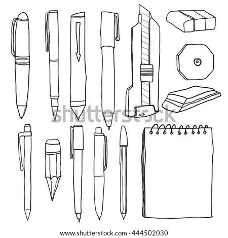 office supplies  pencil pens cutter eraser line art illustration - stock photo