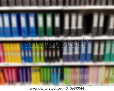 Office supplies shop interior with blurred background