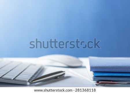 Office supplies.With stack of papers paperwork - stock photo