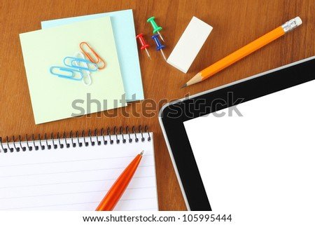 Office supply on wooden background - stock photo