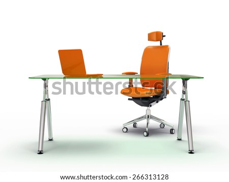 Office table and chair isolated on white background 3D rendering - stock photo