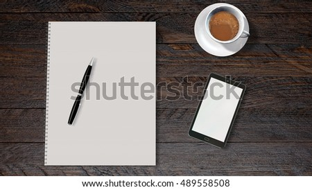 office table of businessman with smartphone, coffee and white spiral bound paper drawing pad - 3d rendering