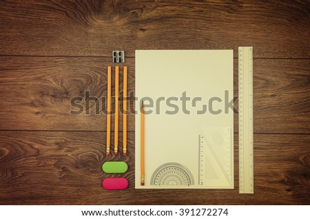 Office table or desk seen from above. Top view product photograph. School or university concept image. - stock photo