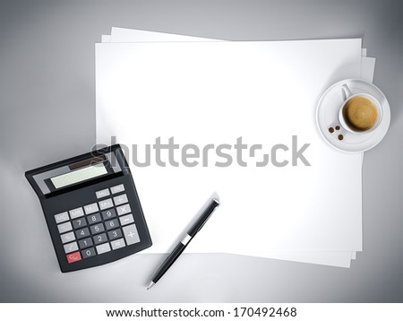 Office table. Top view - stock photo