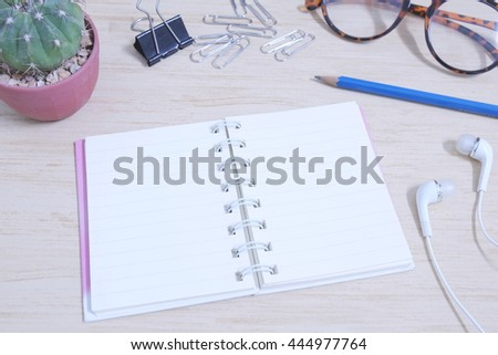 Office table top view - stock photo