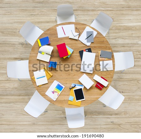 Office Table with Stationary - stock photo