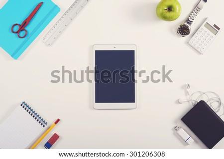 Office tablet hero header - stock photo