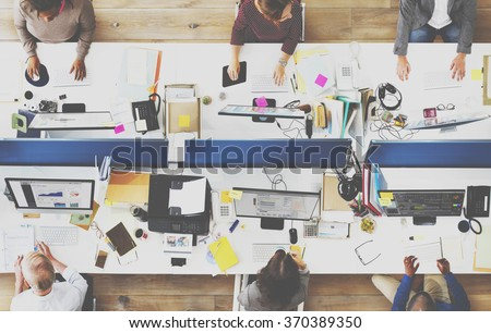 Office Team Working Togetherness Workplace Concept - stock photo
