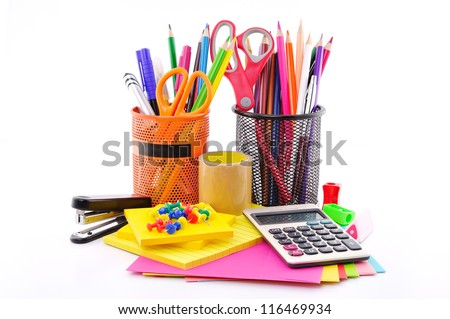 office tools on a white background - stock photo