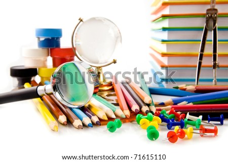 office tools on a white background