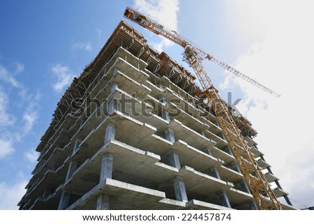 Office tower construction site. - stock photo