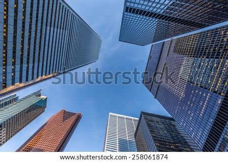 Office towers in the downtown financial district of Toronto Canada. - stock photo
