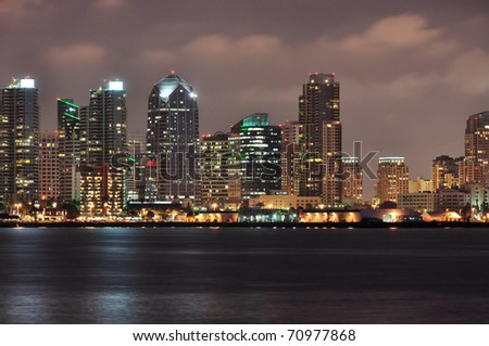 Office towers line the San Diego waterfront. - stock photo