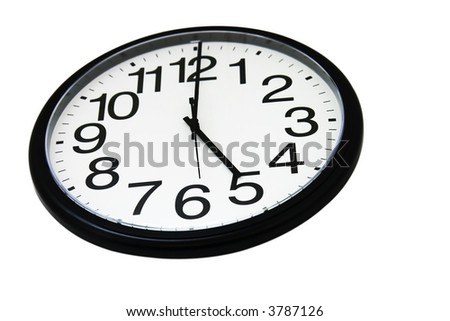 Office wall clock, isolated on white, showing 5 o'clock. Focus on number 5.
