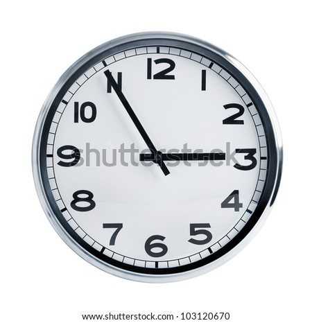Office wall clock with a round face - stock photo
