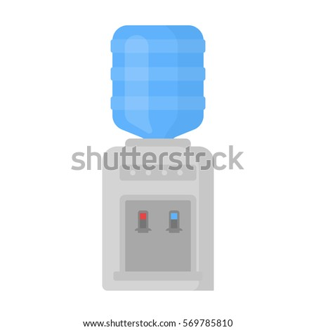 Office water cooler icon in cartoon style isolated on white background. Office furniture and interior symbol stock bitmap, rastr illustration.