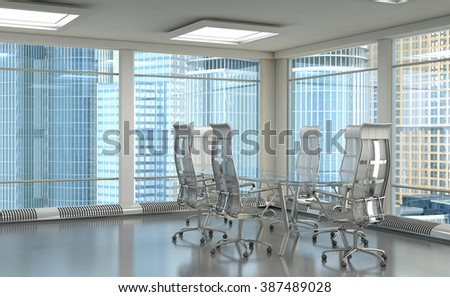 Office with large windows and views of the skyscrapers. With a glass table and chairs. 3d illustration - stock photo