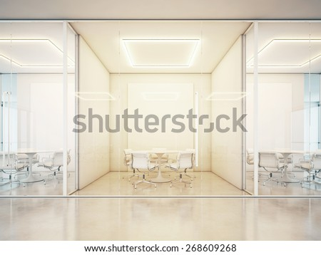 Office with meeting rooms. 3D rendering - stock photo