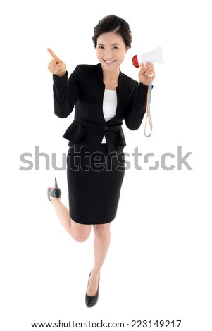 Office woman with megaphone