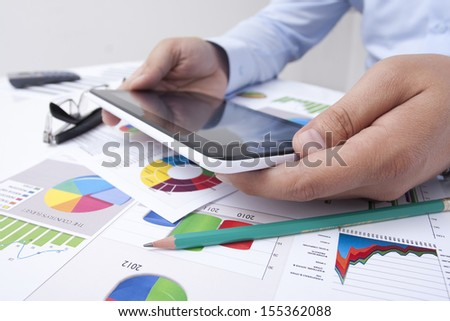 office work on the worktable - stock photo