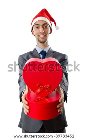 Office worker offering giftbox on white - stock photo